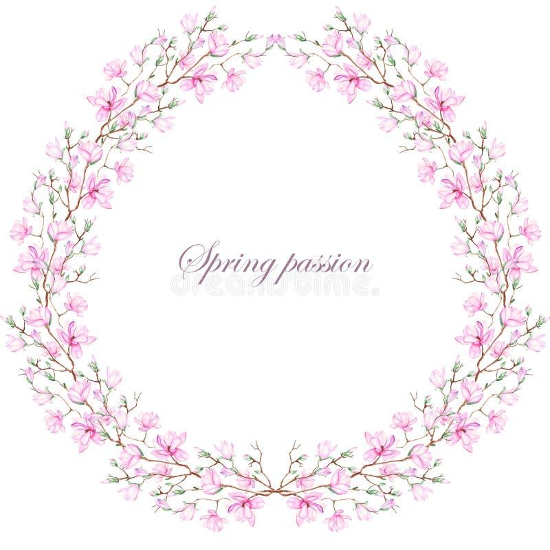 Guirnalda (marco) de la magnolia rosada stock de ilustración