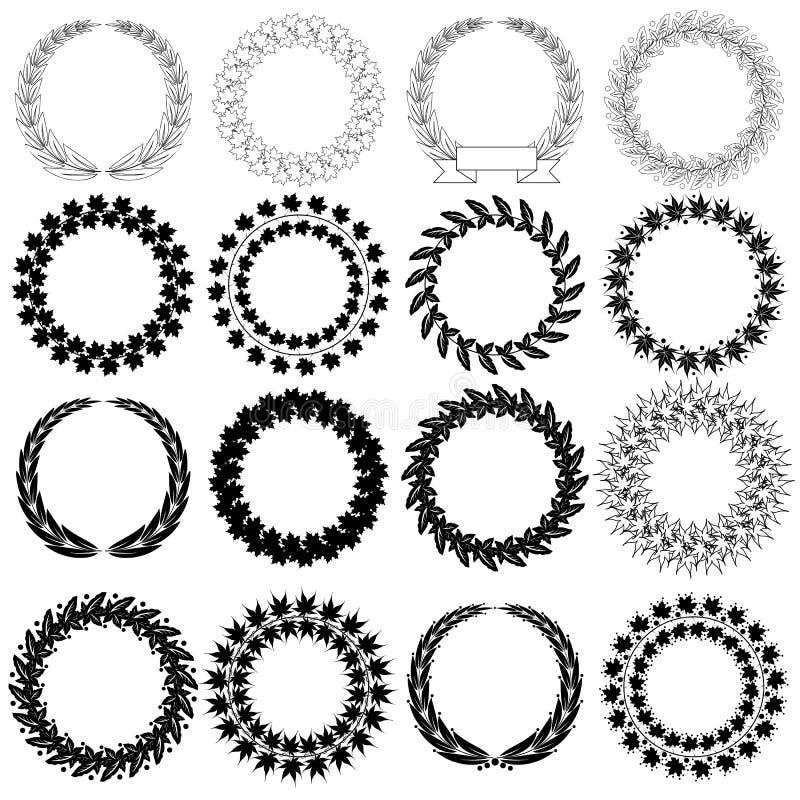 Guirnalda negra determinada del laurel en el fondo blanco ilustración del vector