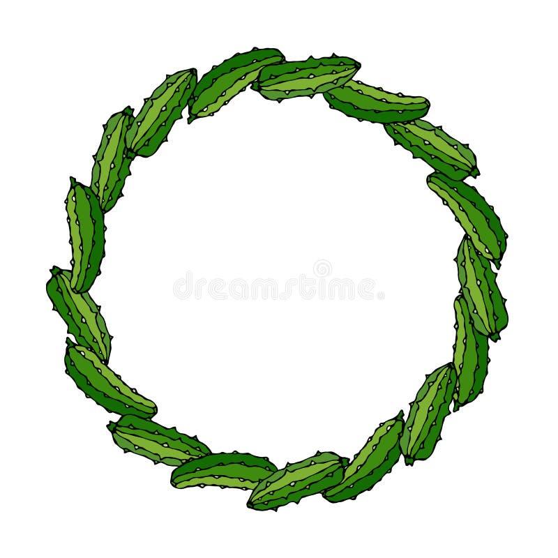 Guirnalda o marco redondo con los pepinos o el pepinillo verdes dispuestos como dominós Ensalada vegetal madura fresca Menú veget stock de ilustración