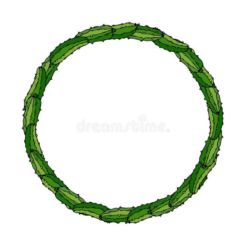 Guirnalda o marco redondo con los pepinos o el pepinillo verdes Ensalada vegetal madura fresca Menú vegetariano sano Vector dibuj ilustración del vector