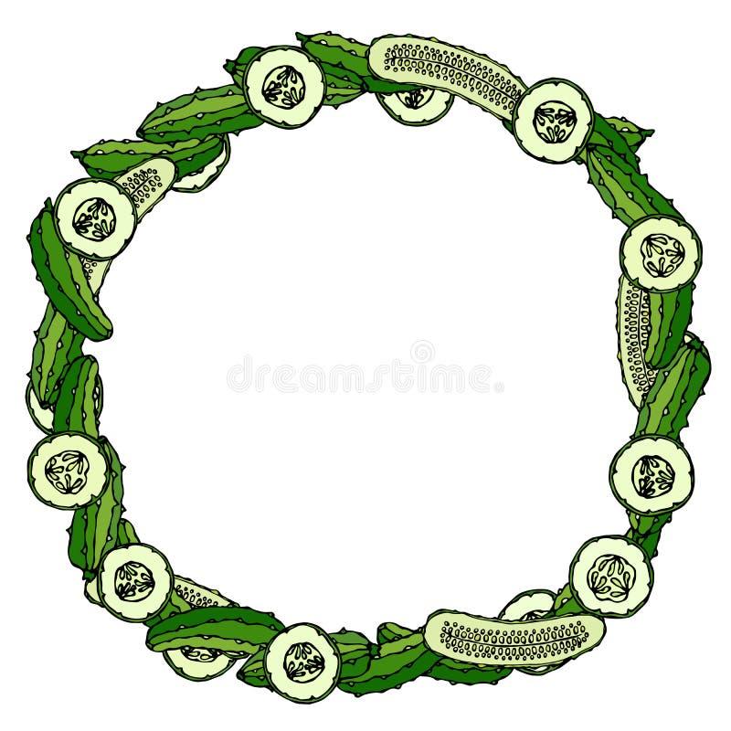 Guirnalda o marco redondo con los pepinos o pepinillo verde, rebanadas del pepino y mitades con las semillas Ensalada vegetal mad ilustración del vector