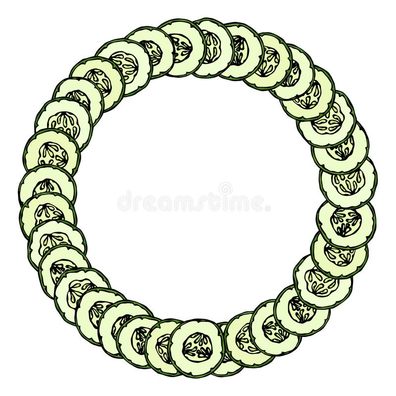 Guirnalda o marco redondo con los pepinos verdes o rebanadas del pepinillo con las semillas dispuestas como dominó Ensalada veget ilustración del vector