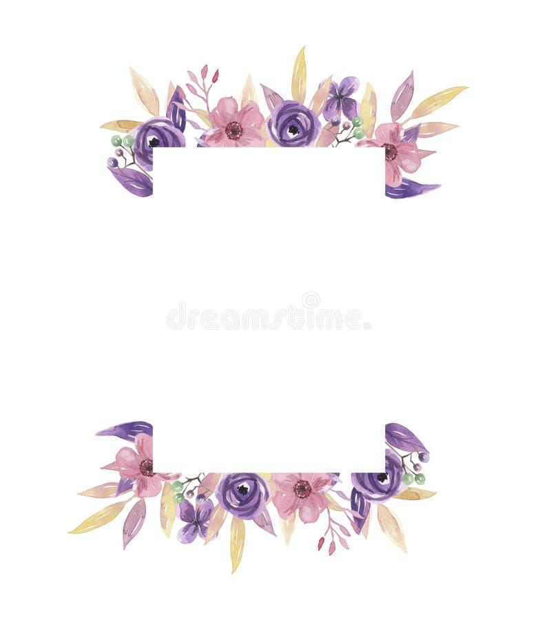 Guirnalda pintada a mano del marco de la acuarela de la lila de la guirnalda del verano de flores del rosa púrpura del centro stock de ilustración