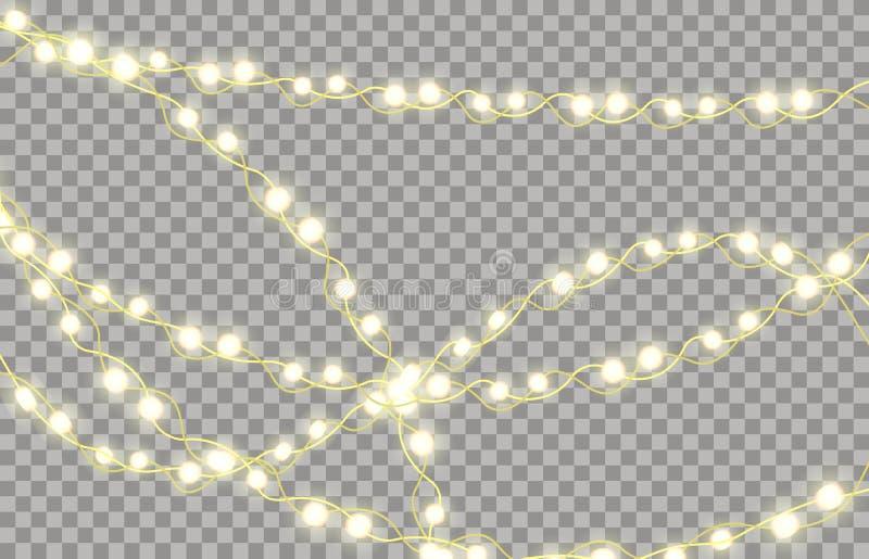 Guirnalda que brilla intensamente colorida por Años Nuevos y árboles de navidad Carteleras de las luces del día de fiesta del LED ilustración del vector