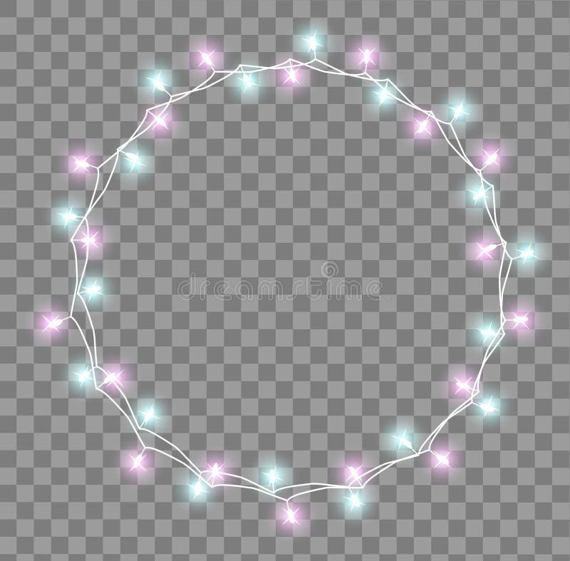 Guirnalda que brilla intensamente con las pequeñas lámparas Efectos luminosos de las decoraciones de la Navidad de las guirnaldas stock de ilustración