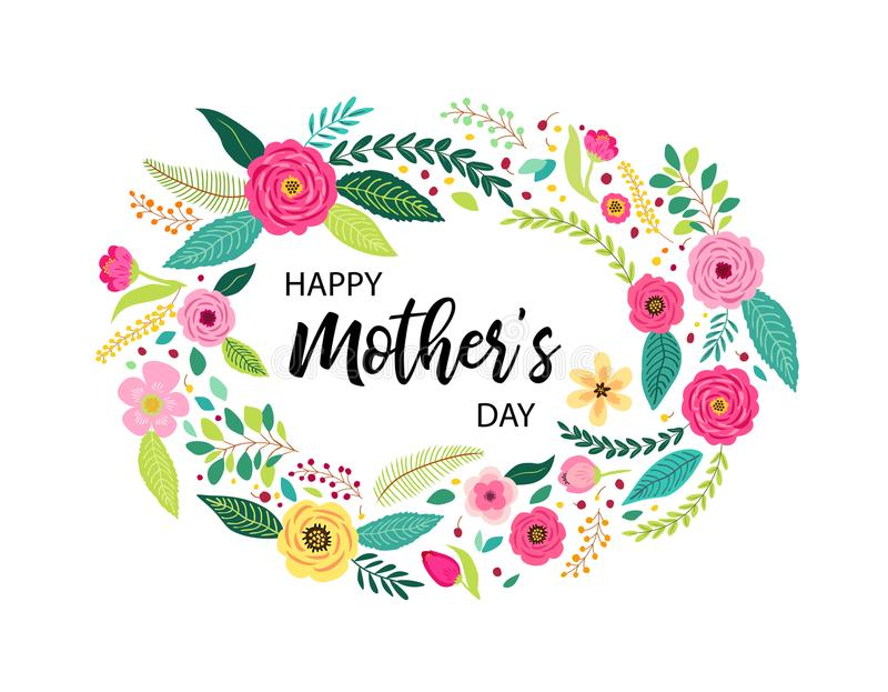 Guirnalda rústica dibujada mano del vintage con las flores lindas de la primavera y día feliz del ` s de la madre del texto escri libre illustration