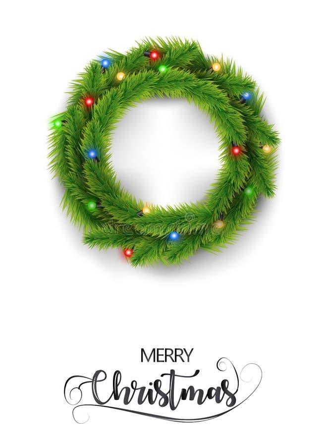 Guirnalda realista de la Feliz Navidad con el aislante de la luz del color de la Navidad en el fondo blanco Ilustración del vecto imágenes de archivo libres de regalías