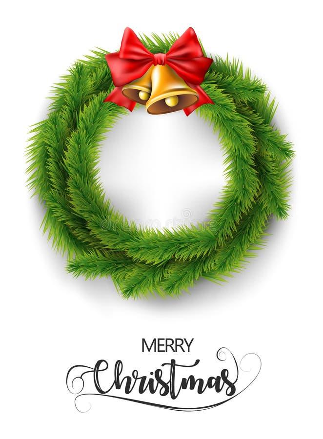 Guirnalda realista de la Feliz Navidad con las campanas del oro de la Navidad y la cinta roja Vector fotografía de archivo