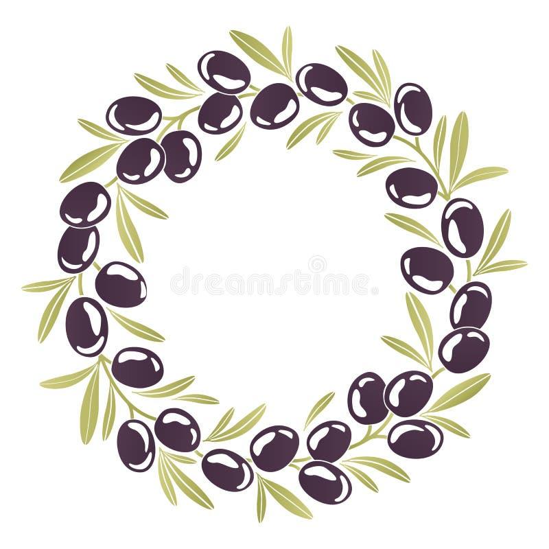 Guirnalda redonda del ornamento de aceitunas negras stock de ilustración