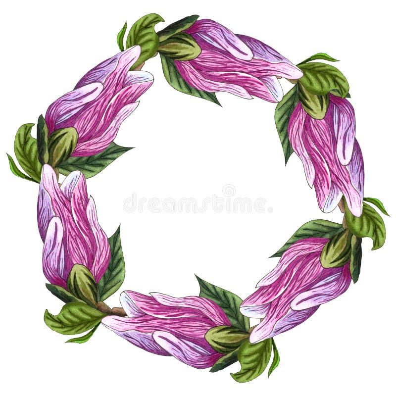 Guirnalda redonda floral con las flores de la magnolia Guirnalda, flores del marco watercolor libre illustration