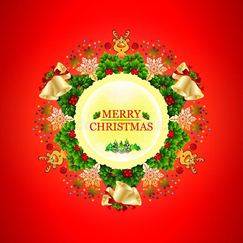 Guirnalda redonda hermosa de la Navidad con las estrellas, los copos de nieve, los arcos, las luces y los pequeños ciervos ilustración del vector