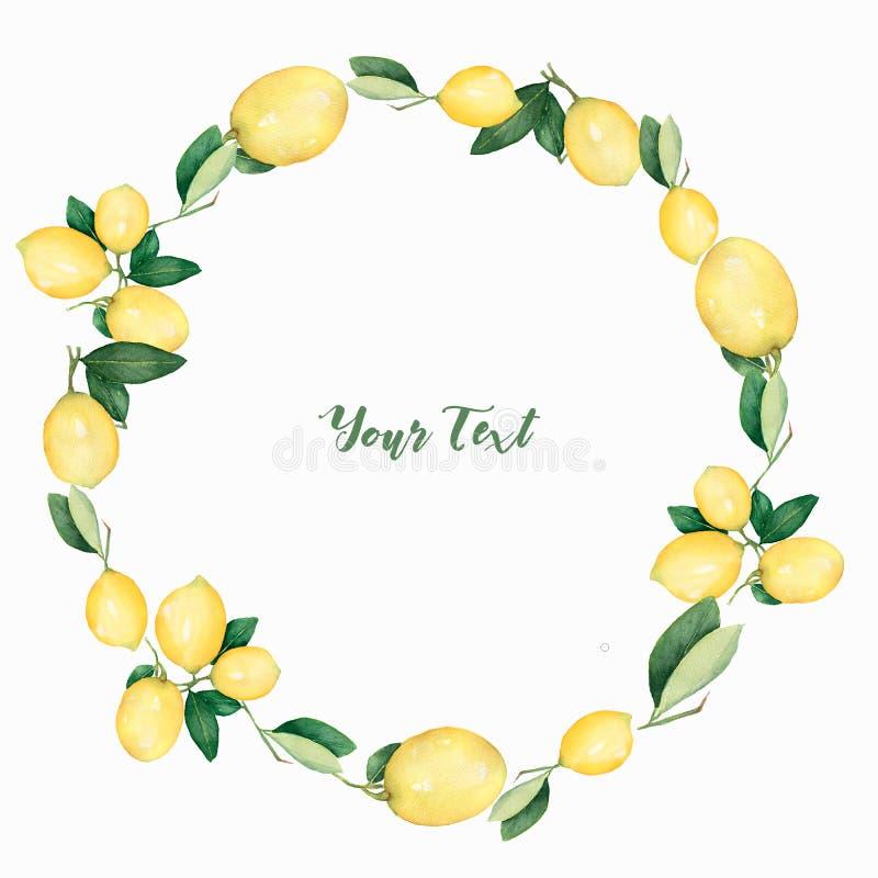 Guirnalda redonda hermosa exhausta de la mano de la acuarela de limones y de ramas libre illustration