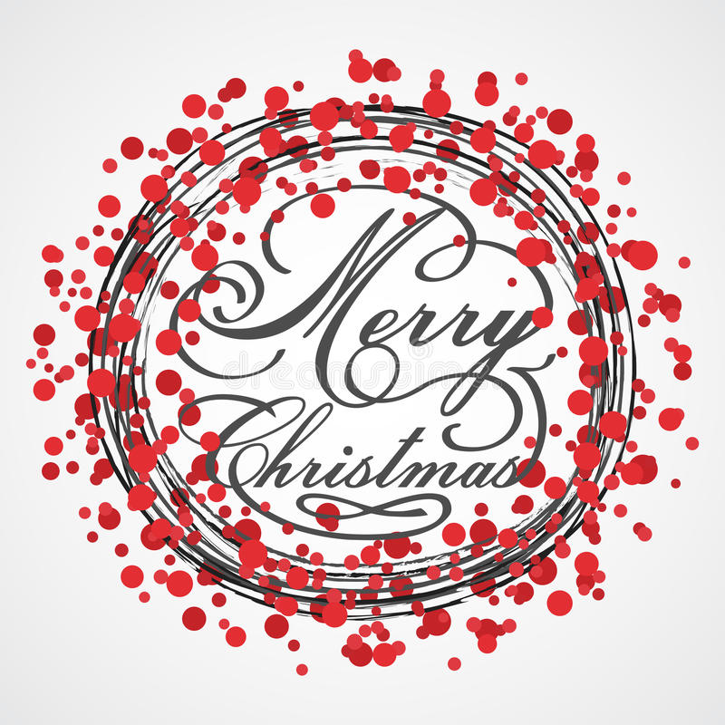 Guirnalda roja de la Navidad del vector Tarjeta de felicitación Fondo común de la Feliz Navidad libre illustration