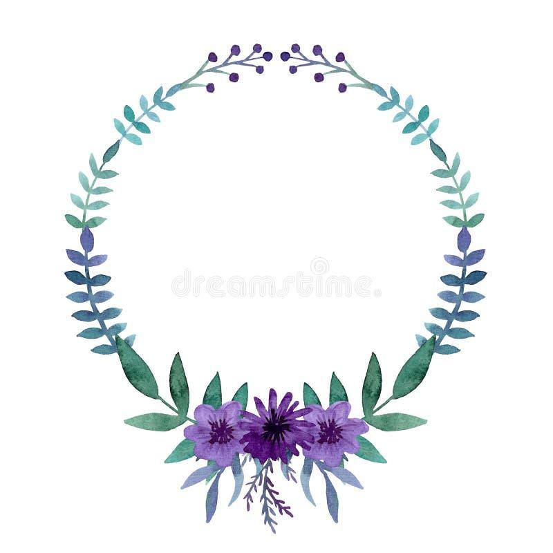 Download Guirnalda Simple Con La Acuarela Violet Flowers Brillante, Las Bayas Y Las Hojas Stock de ilustración - Ilustración de jardín, gráfico: 77883851