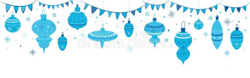 Guirnalda simple de la Navidad con las bolas y las banderas stock de ilustración