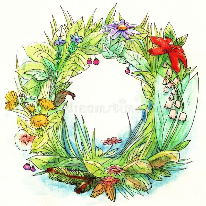Guirnalda verde del jardín del verano con diversas flores, hojas, hierba a mano en acuarela con un esquema linear negro en libre illustration
