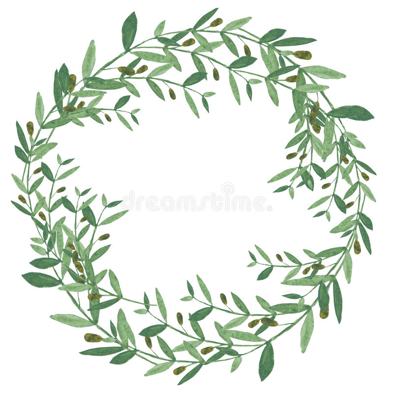 Guirnalda verde oliva de la acuarela libre illustration