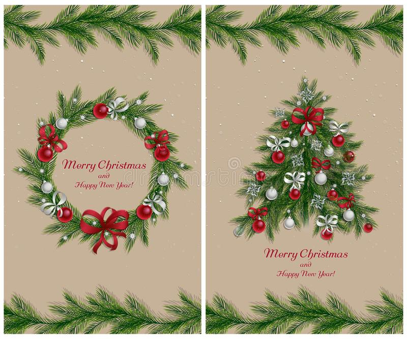 Guirnalda y árbol de la Navidad con las decoraciones Sistema de dos tarjetas de felicitación stock de ilustración