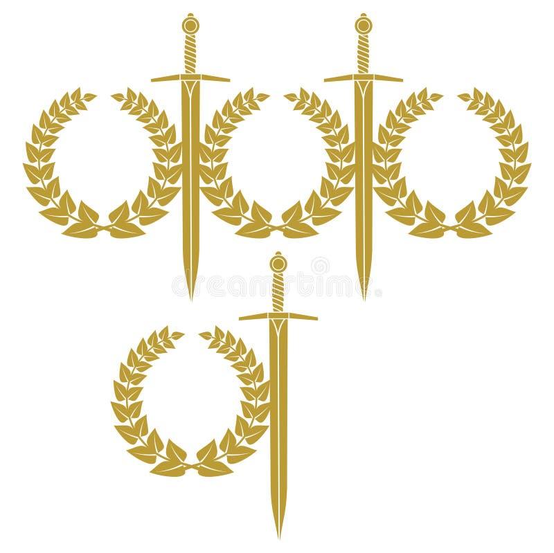 Guirnalda y espada stock de ilustración