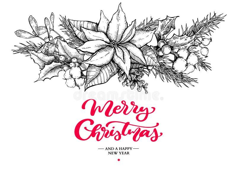 Guirnalda y letras de la Navidad Vector el ejemplo dibujado mano con el acebo, muérdago, poinsetia, cono del pino, algodón libre illustration