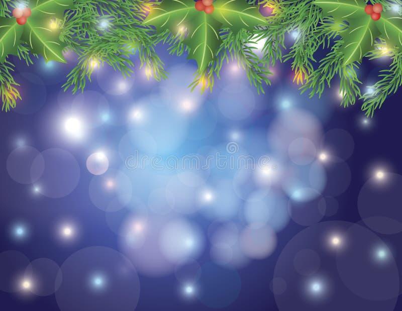 Guirnalda y luces Bokeh del árbol de navidad ilustración del vector