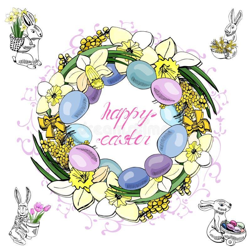 Guirnaldas con diversos objetos para la decoración feliz de Pascua La mano dibujada coloreó bosquejos aislados en el fondo blanco stock de ilustración