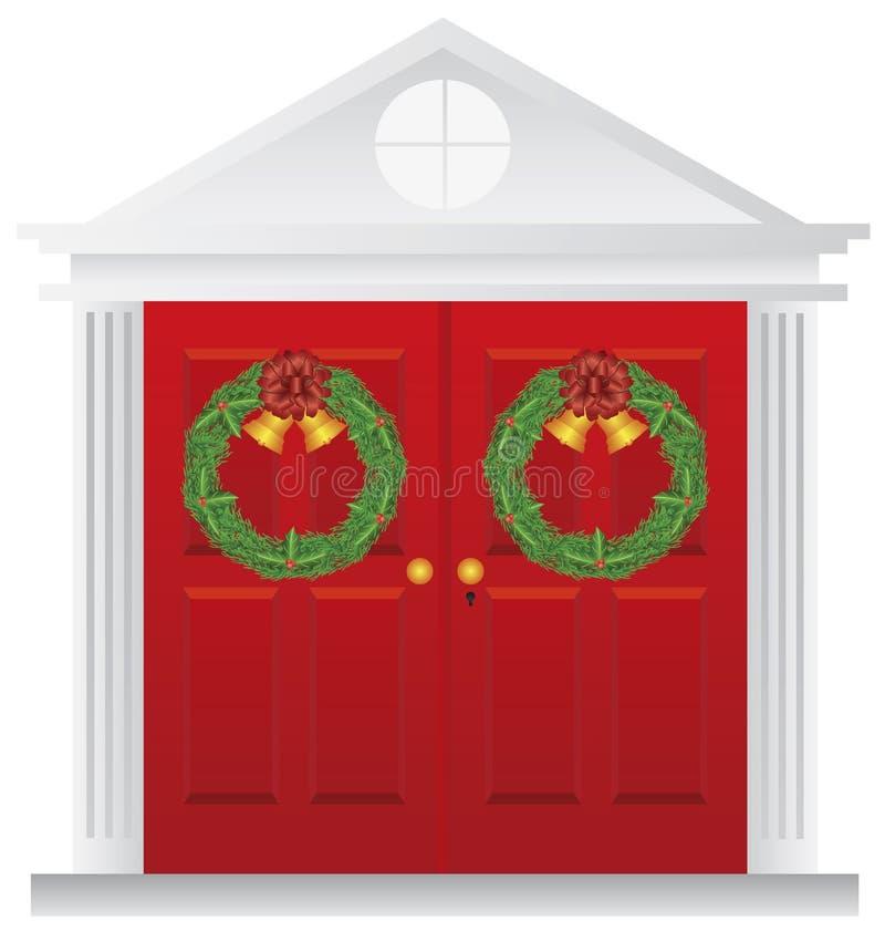 Guirnaldas de la Navidad en el ejemplo rojo doble de la puerta libre illustration