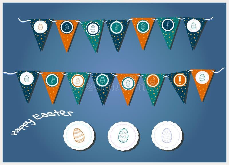 Guirnaldas de Pascua del vector con las banderas, los huevos, los corazones y los conejitos triangulares Ejemplo para las tarjeta libre illustration