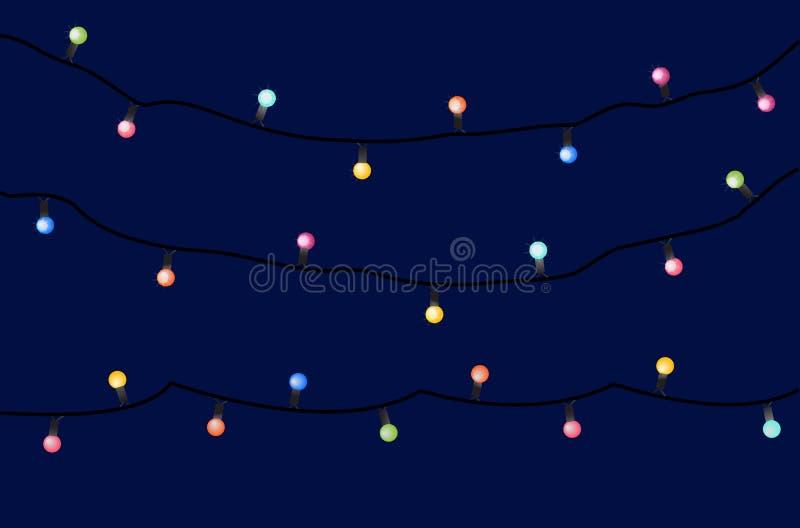 Guirnaldas del día de fiesta del vector con las lámparas coloridas en un fondo oscuro ilustración del vector