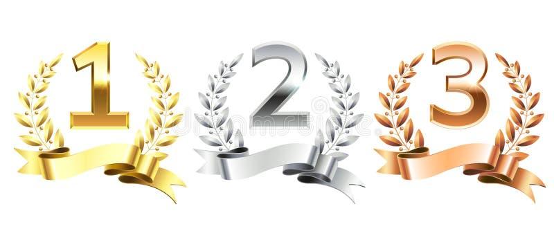Guirnaldas del laurel del ganador Los laureles de oro enrruellan para el primer oro, el segundo pedestal de bronce de plata y ter stock de ilustración