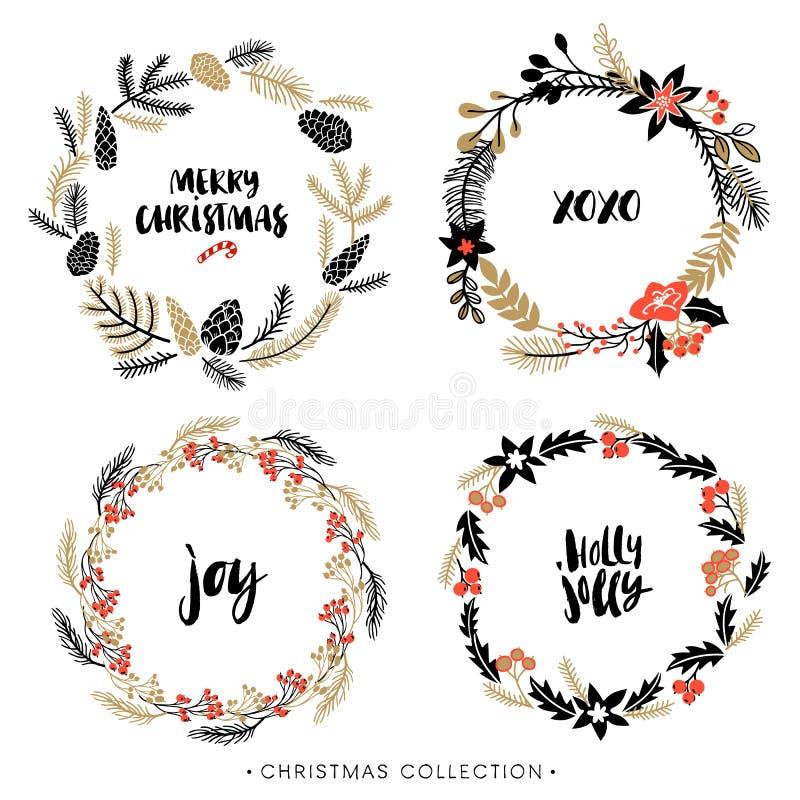 Guirnaldas del saludo de la Navidad con caligrafía ilustración del vector