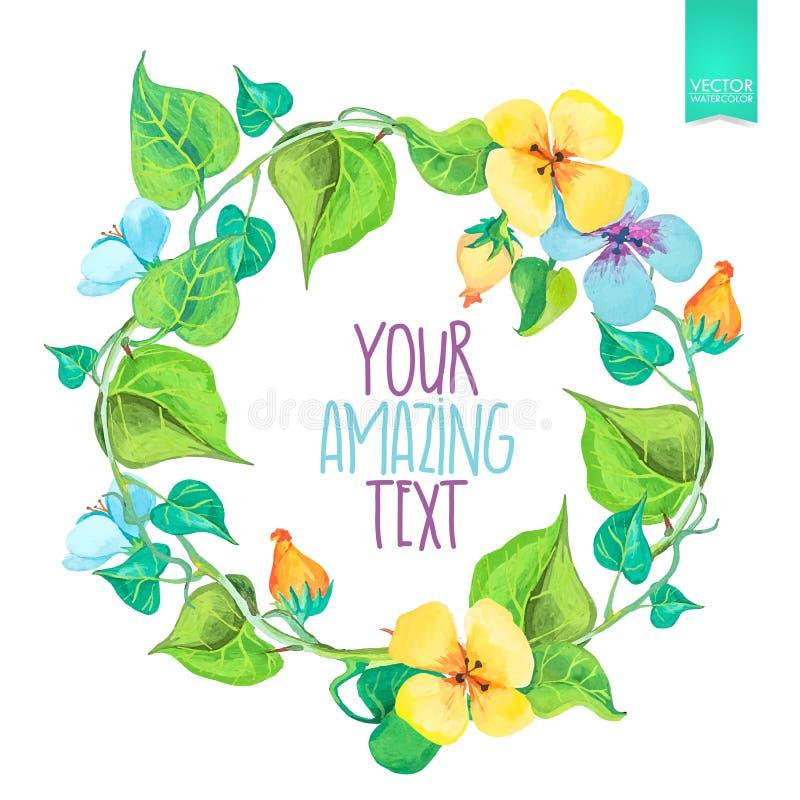 Guirnaldas florales circulares coloridas de la acuarela stock de ilustración