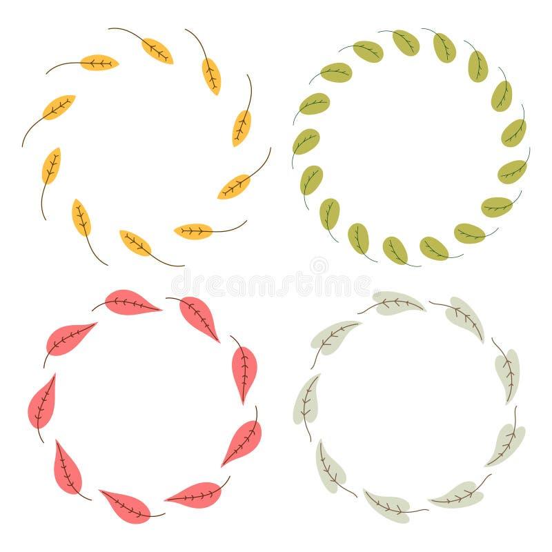 Guirnaldas florales dibujadas mano del círculo del vector stock de ilustración