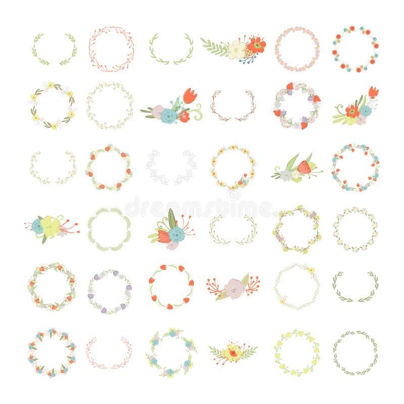 Guirnaldas florales y de la hoja y ramos y sistema grande de los marcos ilustración del vector
