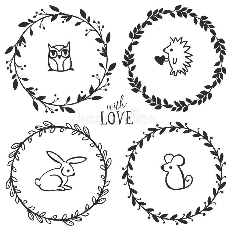 Guirnaldas rústicas dibujadas mano del vintage con las letras ilustración del vector
