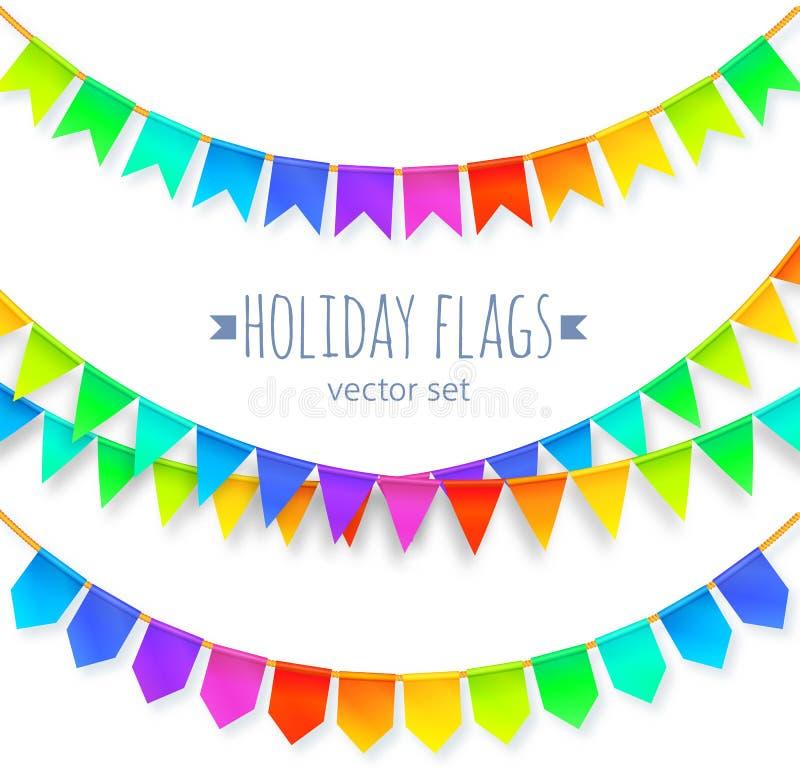 Guirnaldas vivas de las banderas del arco iris de los colores fijadas aisladas ilustración del vector