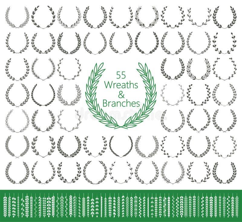 55 guirnaldas y ramas fijadas Vector ilustración del vector