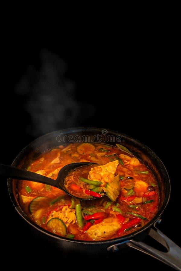 Guisado de peru picante caseiro tradicional com os vegetais e a paprika, internos, processo de cozimento em uma bandeja no fundo  fotografia de stock royalty free