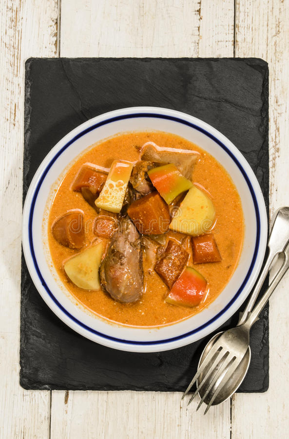 Guisado de pollo húngaro con la patata, el paprika y la salsa salados fotos de archivo