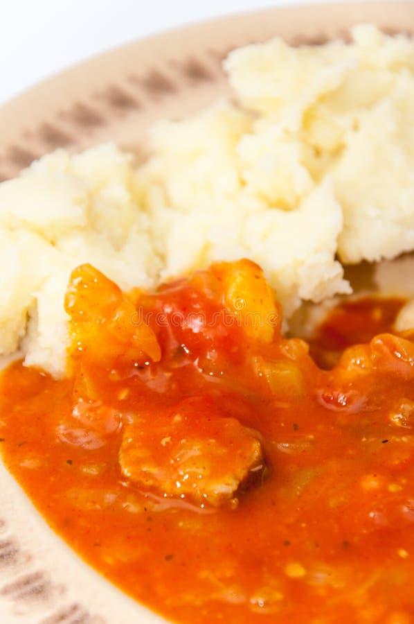 Guisado del tomate del puré de patata de la carne del pollo de la visión superior imagenes de archivo
