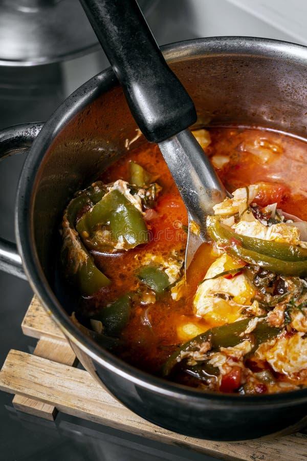 Guisado picante tradicional da sopa do tomate e do ovo em madeira Portugal fotografia de stock