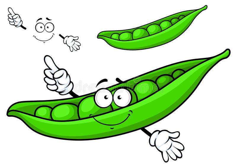 Guisante verde de la historieta stock de ilustración