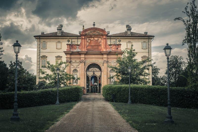 Giuseppe Verdi museum, Busseto, Parma, Italy. Entrance to Giuseppe Verdi museum in Busseto, Parma, Italy with dark, stormy skies royalty free stock photo
