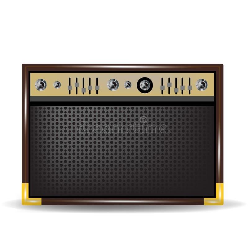 Guit o amplificador para la guitarra acústica stock de ilustración