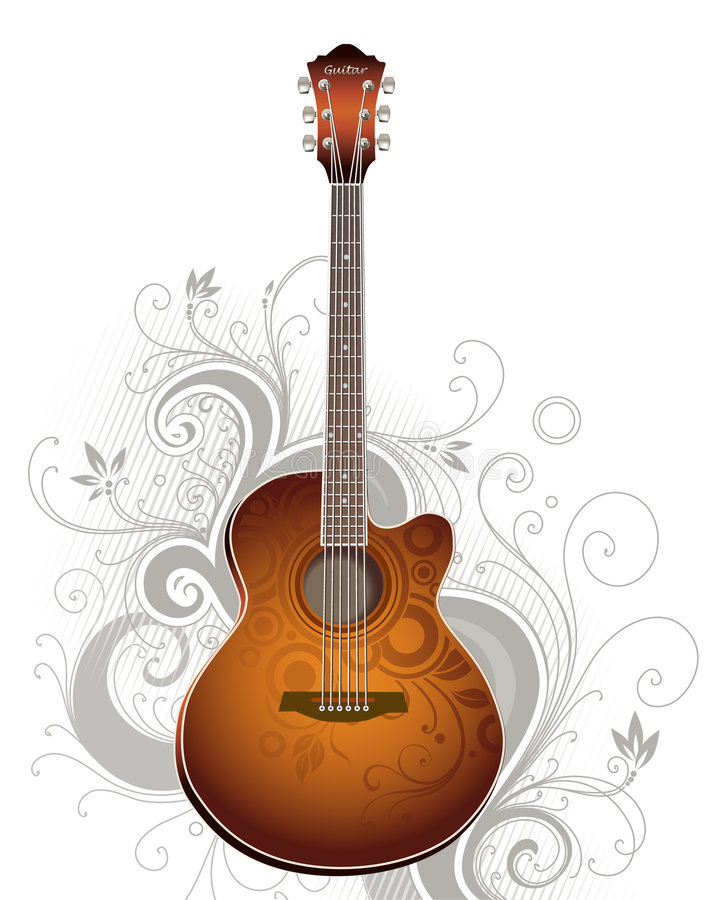 Download Guitar stock vector. Image of silhouette, sound, decorative - 3321488