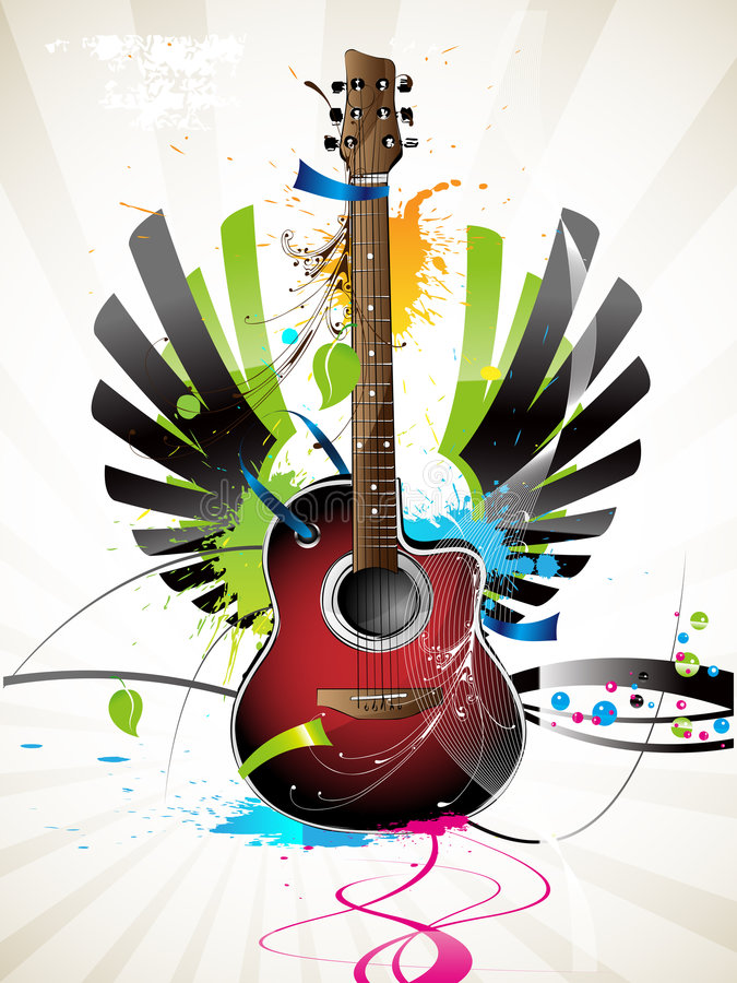 Download Guitar stock vector. Image of pattern, painting, music - 4107194