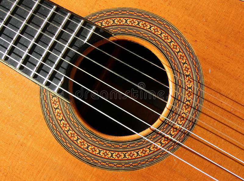 Guitar Abstract. Classial (spanish) guitar abstract showing sound hole with ornate decoration royalty free stock images