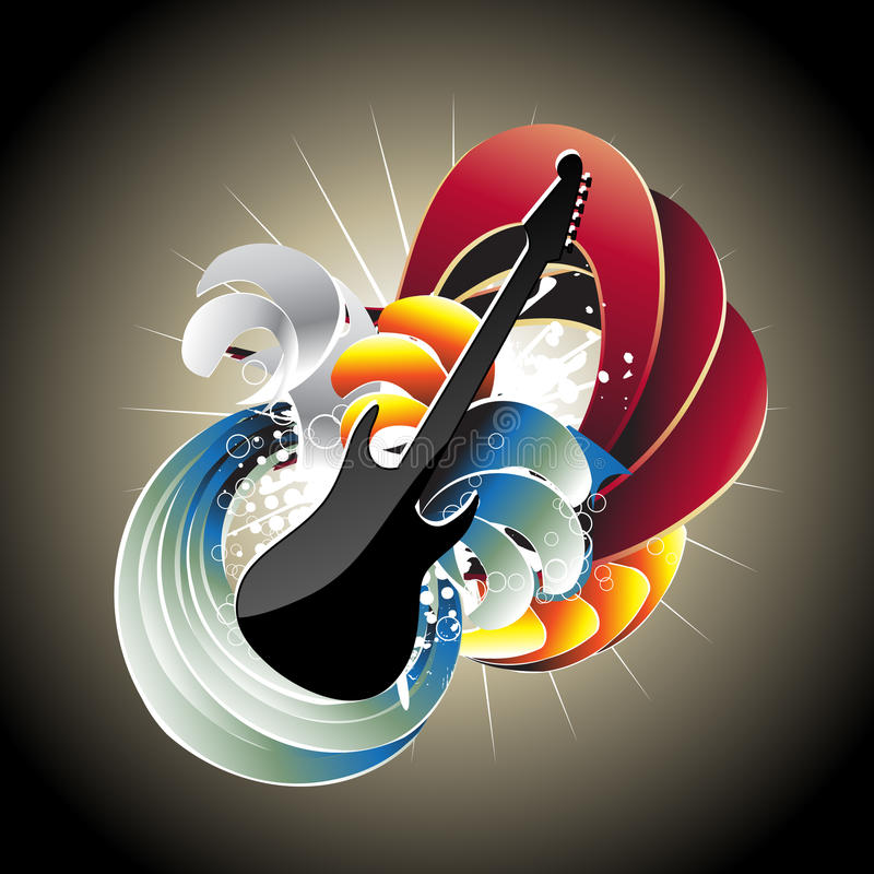 Download Guitar In Abstract Background Stock Vector - Image: 14071627
