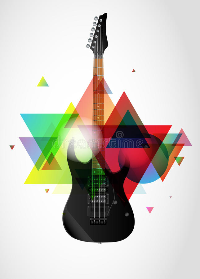 Guitar on abstract background vector illustration