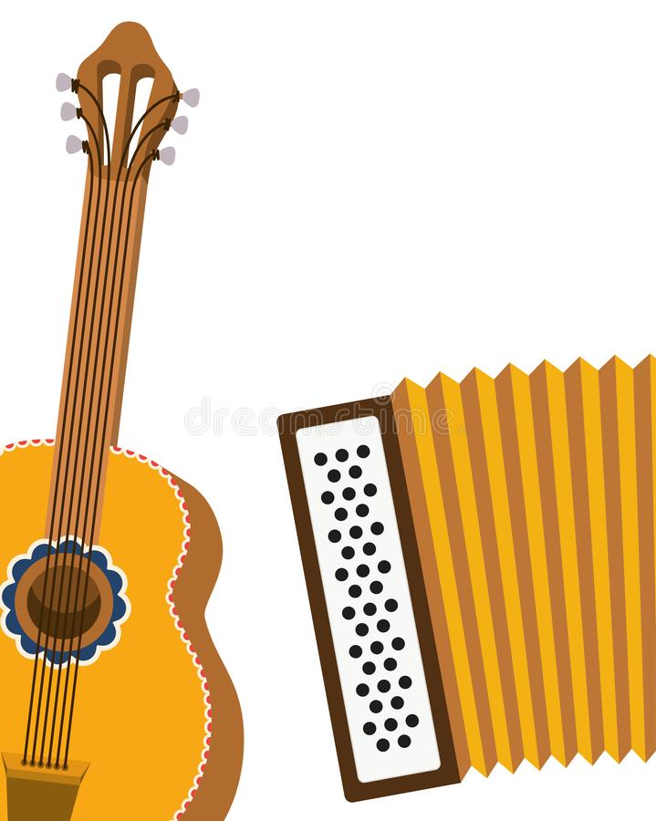 Guitar and accordion isolated icon. Vector illustration design royalty free illustration